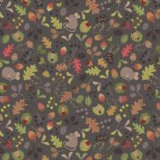 Lewis & Irene Autumn in Bluebell Wood - 5516 - Woodland Mouse on Dark Grey - A248.3 - Cotton Fabric